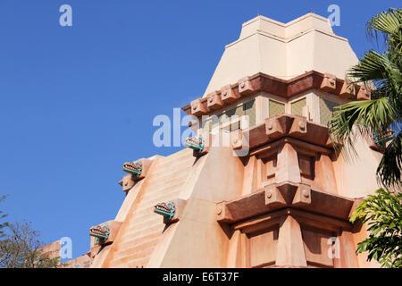 Aztec pyramid at the Mexican pavilion of Epcot Center, Walt Disney World Showcase. - Stock Photo