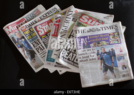 Daily Mirror, Daily Express, Daily Star. Independent, I on Saturday, The independent, The Sun, The Times, Daily - Stock Photo