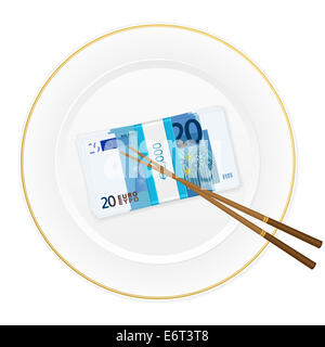 Plate, chopsticks and euro banknotes pack on a white background. - Stock Photo