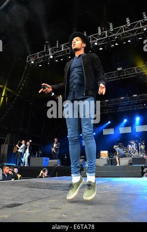 Birmingham, UK. 30th Aug, 2014. Rizzle Kicks perform at Fusion festival at Cofton Park in Birmingham. © Kelly Rann/Alamy - Stock Photo
