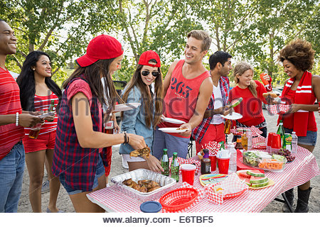 Friends eating at barbecue in field - Stock Photo