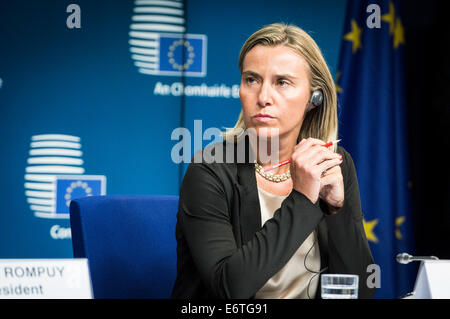 Brussels, Belgium. 30th Aug, 2014. Italian Foreign Minister Federica Mogherini pictured during a summit of the European Union at the EU headquarters in Brussels, Belgium on 30.08.2014 Credit:  dpa picture alliance/Alamy Live News Stock Photo