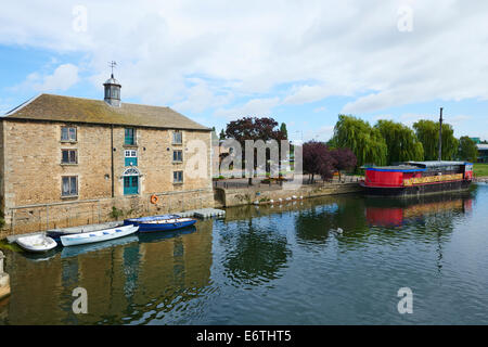 The Old Custom House To The Right Is The Grain Barge River Nene Peterborough Cambridgeshire UK - Stock Photo