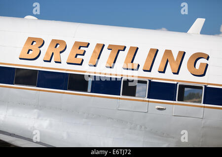 Payerne, Switzerland. 30th Aug, 2014. Breitling Douglas DC-3 at the air Show at AIR14 on Saturday 30th August Credit: - Stock Photo