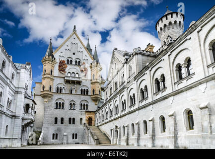 Image with Neuschwanstein Castle, nineteenth-century Romanesque in Bavaria, Germany. - Stock Photo