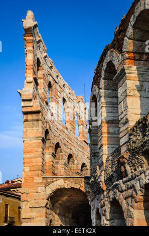 Verona, Italy. Roman Empire amphitheater, Arena, completed in 30AD, the third largest in the world. - Stock Photo