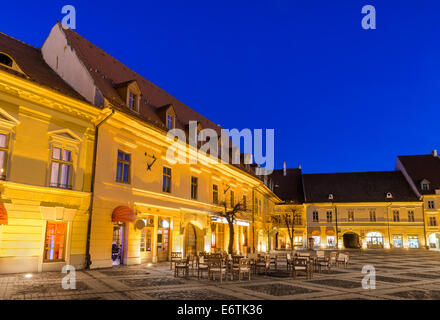 Twilight image Large Square, center of medieval Historic city of Transylvania. - Stock Photo