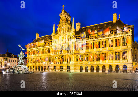 Grote Markt, Antwerp in Belgium spectacular central square and elegant 16th-century Stadhuis (town hall) dressed - Stock Photo