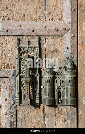 Grand Place, the central square in the city center, historic old town, historic town hall, Door knocker, lock, - Stock Photo