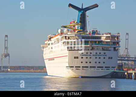 Carnival Inspiration, Moored In Long Beach Harbor. - Stock Photo