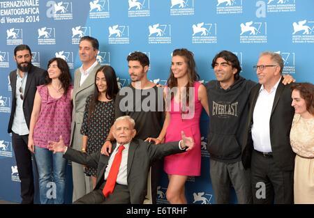 Venice, Lido of Venice. 31st Aug, 2014. Director Fatih Akin (3rd R), writer Mardik Martin (front) and actor Tahar - Stock Photo