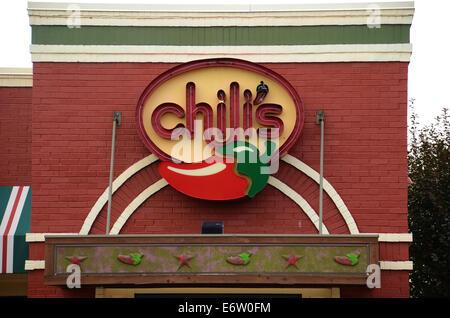 ANN ARBOR, MI - AUGUST 24: Chili's east Ann Arbor store logo is shown on August 24, 2014.
