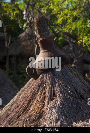 Konso Tribe Traditional Houses With Pots On The Top, Konso, Omo Valley, Ethiopia - Stock Photo