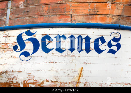 The word or name 'Hermes' on a old wooden ship in rustic and shabby chic  style. - Stock Photo