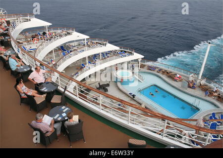 Terrace Pool on aft deck, P&O Cruises Oriana, Norway 2014 - Stock Photo