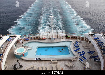 Terrace Pool on aft deck, P&O Cruises Oriana, Norway 2014 - Stock Photo