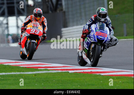 Silverstone, UK. 31st Aug, 2014. MotoGP. British Grand Prix. Jorge Lorenzo (Movistar Yamaha)during the race on his - Stock Photo