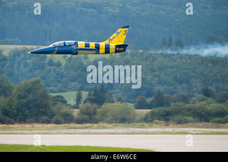 SLIAC, SLOVAKIA - AUGUST 30: Flight in low hight of Aero L-39 Albatros during speed race on SIAF airshow in Sliac, - Stock Photo