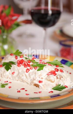 Pomegranate seeds decorate chiles en nogada, a seasonal dish of Puebla, Mexico. - Stock Photo
