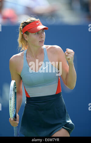 New York, NY, USA. 31st Aug, 2014. Maria Sharapova of Russia reacts during the women's singles fourth round match - Stock Photo