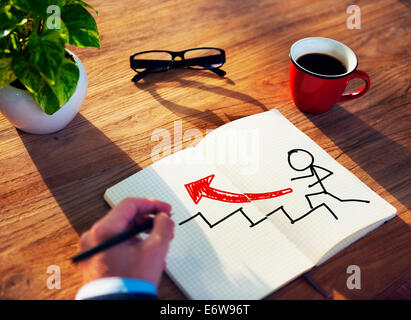 Businessman Brainstorming on a Growth Concept - Stock Photo