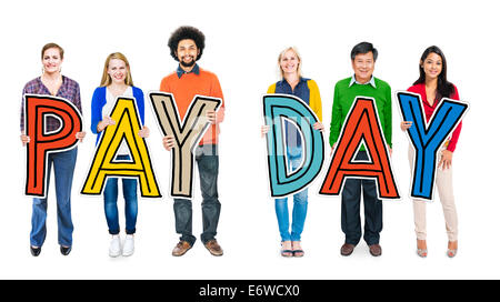 Group of People Standing Holding Payday Letter - Stock Photo