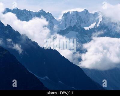 Les Grandes Jorasses from Le Grand Balcon Sud, Chamonix, Alps, france - Stock Photo