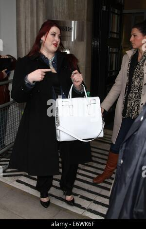 American Idol Jessica Clemmons leaving Radio 2 after promoting her new single, Single Tonight  Featuring: Jessica - Stock Photo