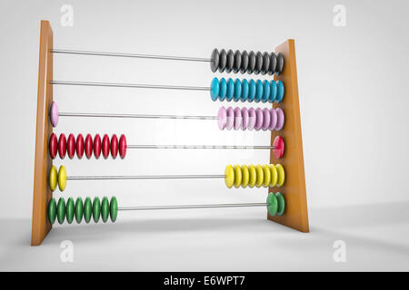 illustration of a wooden abacus made in 3d - Stock Photo
