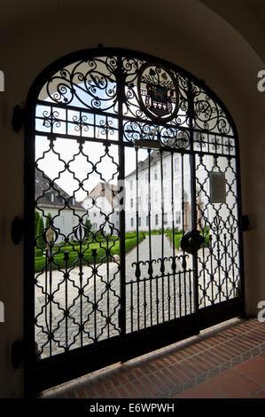 Abbey gates, Fraueninsel, Chiemsee, Chiemgau, Bavaria, Germany - Stock Photo