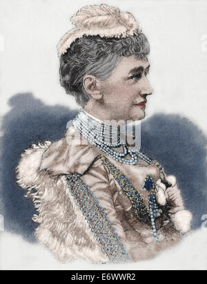 Louise of Hesse-Kassel (1817-1898). Princess and Queen consort of Denmark. Engraving in The Artistic Illustration, 1889. Colored