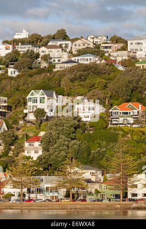 Historic timber houses on the waterfront, Wellington, North Island, New Zealand - Stock Photo