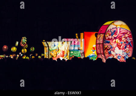 Artistic colourful lanterns lighting the sky, Morgenstraich, Basel Carnival, canton of Basel, Switzerland - Stock Photo