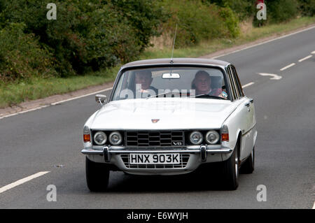Rover P6 3500S V8 car on the Fosse Way road, Warwickshire, UK - Stock Photo