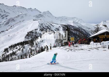 In the ski resort over Courmayeur, Aosta Valley, Italy - Stock Photo