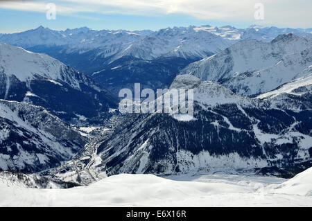 Under Mont Blanc with view towards Courmayeur, Aosta Valley, Italy - Stock Photo