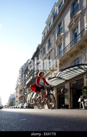 Exterior view and main entrance, Hotel La Maison Champs-Elysees, designed by Martin Margiela, Paris, France - Stock Photo