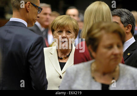 Brussels, Belgium. 30th Aug, 2014. German Chancellery Angela Merkel at the EU Summit in Brussels, Belgium, August 30, 2014. The European Commission, together with diplomats, should propose a form of anti-Russian toughen sanctions in the next week. Czech Republic reserved the right to disagree with parts of the proposal if it means large economic damage. © Jakub Dospiva/CTK Photo/Alamy Live News Stock Photo