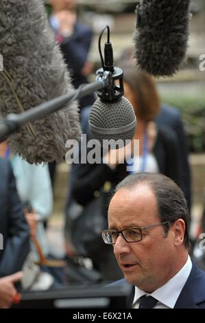 Brussels, Belgium. 30th Aug, 2014. French President Francois Hollande at the EU Summit in Brussels, Belgium, August 30, 2014. The European Commission, together with diplomats, should propose a form of anti-Russian toughen sanctions in the next week. Czech Republic reserved the right to disagree with parts of the proposal if it means large economic damage. © Jakub Dospiva/CTK Photo/Alamy Live News Stock Photo