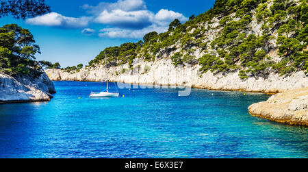 Calanques of Port Pin in Cassis in France near Marseille - Stock Photo