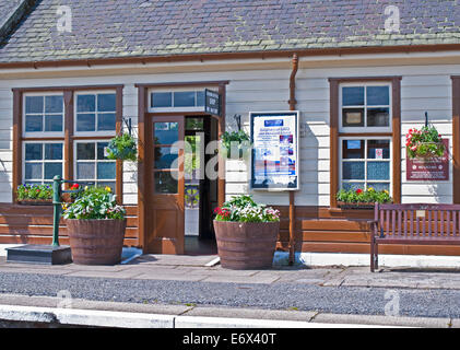 View to ticket office from platform at Boat of Garten station, Strathspey Steam Railway, near Aviemore, Cairngorms - Stock Photo