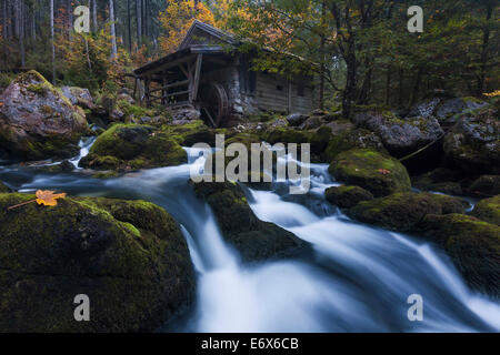 Photo of the old mill on the bank of the Schwarzbach downstream the Golling waterfalls in autumn, Salzburg, Austria - Stock Photo