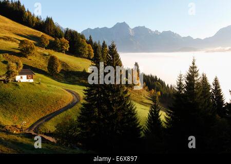 View over Steinernes Meer, near Maria Alm, Pinzgau, Salzburg, Austria - Stock Photo