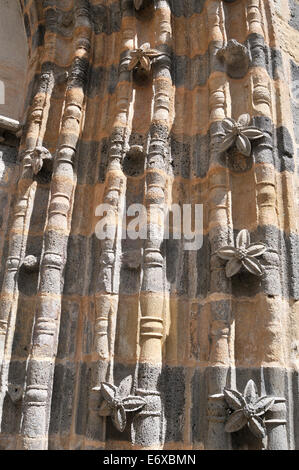 details of porch of the Romanesque church of Saint-Pierre in the medieval city of Blesle Haute Loire Auvergne France - Stock Photo