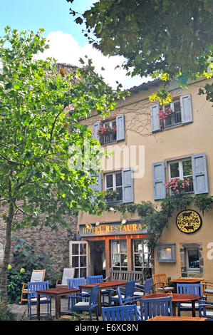 hotel restaurant La Bougnate in the medieval city of Blesle Haute Loire Auvergne France - Stock Photo