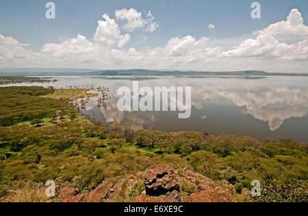 Panoramic view of flooded high level Lake Nakuru from summit of Baboon Cliffs Lake Nakuru National Park Kenya East - Stock Photo