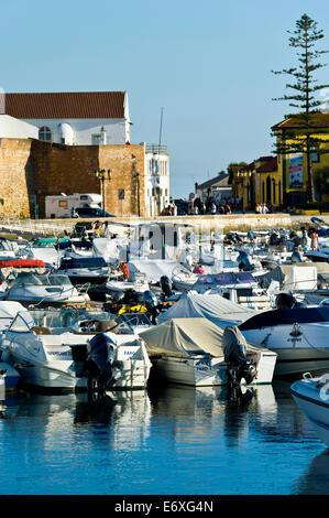 Marina and old city at Faro Algarve Portugal. - Stock Photo