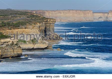 Rocky coast along the Great Ocean Road at Port Campbell, Victoria, VIC, Australia - Stock Photo