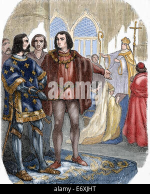 Louis XI (1423-1483). King of France. Marriage with his first wife Margaret of Scotland (1424-1445). Engraving. - Stock Photo