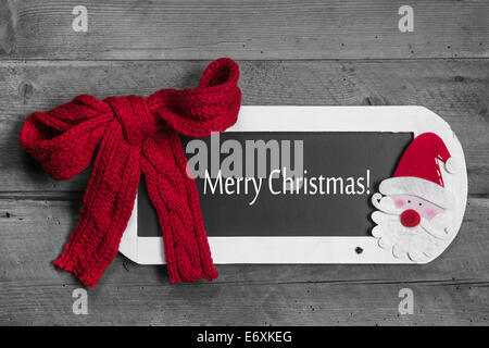 Christmas greeting card in red, white and grey - text: merry christmas - Stock Photo